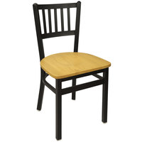 BFM Seating 2090CNTW-SB Troy Sand Black Metal Side Chair with Natural Seat