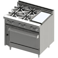 Blodgett BR-4-12GT-36C 4 Burner 36 inch Thermostatic Gas Range with Right Side 12 inch Griddle and Convection Oven Base - 174,000 BTU