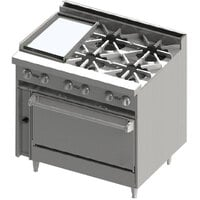 Blodgett BR-12GT-4-36C 4 Burner 36 inch Thermostatic Gas Range with Left Side 12 inch Griddle and Convection Oven Base - 174,000 BTU