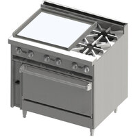 Blodgett BR-24GT-2-36 2 Burner 36 inch Thermostatic Gas Range with Left Side 24 inch Griddle and Oven Base - 138,000 BTU