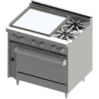 Blodgett BR-24G-2-36C 2 Burner 36 inch Manual Gas Range with Left Side 24 inch Griddle and Convection Oven Base - 138,000 BTU