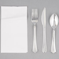 Silver Visions Silver Heavy Weight Plastic Cutlery Set with White Pocket Fold Napkin - 50/Case