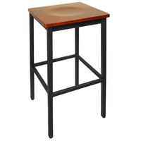 BFM Seating 2510BCHW-SB Trent Sand Black Metal Barstool with Cherry Wood Seat