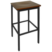 BFM Seating 2510BMHW-SB Trent Sand Black Metal Barstool with Mahogany Wood Seat