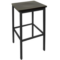 BFM Seating 2510BBLW-SB Trent Sand Black Metal Barstool with Black Wood Seat