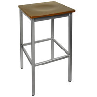 BFM Seating 2510BWAW-SV Trent Silver Metal Barstool with Walnut Wood Seat