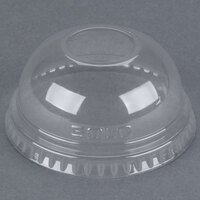 Dart Solo DLR685 7 oz. Clear PET Plastic Dome Lid with 1 inch Hole - 2500/Case