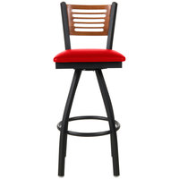 BFM Seating 2151SRDV-CHSB Espy Sand Black Metal Bar Height Chair with Cherry Wooden Back and 2 inch Red Vinyl Swivel Seat