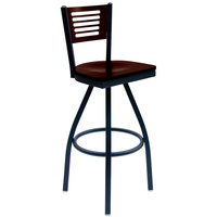 BFM Seating 2151SWAW-WASB Espy Sand Black Metal Bar Height Chair with Walnut Wooden Back and Swivel Seat
