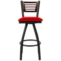 BFM Seating 2151SRDV-MHSB Espy Sand Black Metal Bar Height Chair with Mahogany Wooden Back and 2 inch Red Vinyl Swivel Seat