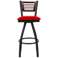 BFM Seating 2151SRDV-WASB Espy Sand Black Metal Bar Height Chair with Walnut Wooden Back and 2 inch Red Vinyl Swivel Seat