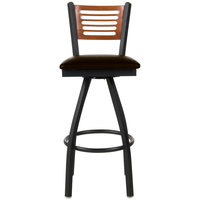 BFM Seating 2151SDBV-CHSB Espy Sand Black Metal Bar Height Chair with Cherry Wooden Back and 2 inch Dark Brown Vinyl Swivel Seat
