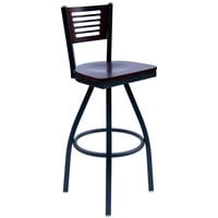 BFM Seating 2151SMHW-MHSB Espy Sand Black Metal Bar Height Chair with Mahogany Wooden Back and Swivel Seat