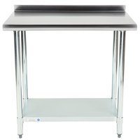18 Gauge Economy 24 inch x 36 inch 430 Stainless Steel Work Table with Undershelf and 2 inch Rear Upturn