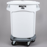 Rubbermaid BRUTE 20 Gallon White Ingredient Bin / Trash Can, Lid, and Dolly Kit