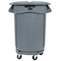 Rubbermaid BRUTE 32 Gallon Gray Trash Can, Lid, and Dolly Kit