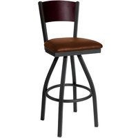 BFM Seating 2150SLBV-MHSB Dale Sand Black Metal Swivel Bar Height Chair with Mahogany Finish Wooden Back and 2 inch Light Brown Vinyl Seat