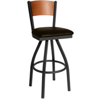 BFM Seating 2150SDBV-CHSB Dale Sand Black Metal Swivel Bar Height Chair with Cherry Finish Wooden Back and 2 inch Dark Brown Vinyl Seat