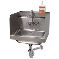 Advance Tabco 7-PS-76 Hand Sink with 12 inch High Side Splash Guards - 17 1/4 inch x 15 1/4 inch