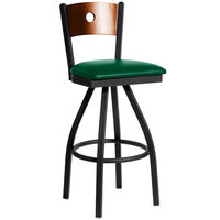 BFM Seating 2152SGNV-CHSB Darby Sand Black Metal Bar Height Chair with Cherry Wooden Back and 2 inch Green Vinyl Swivel Seat