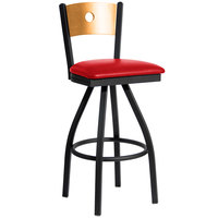 BFM Seating 2152SRDV-NTSB Darby Sand Black Metal Bar Height Chair with Natural Wooden Back and 2 inch Red Vinyl Swivel Seat
