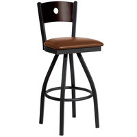 BFM Seating 2152SLBV-WASB Darby Sand Black Metal Bar Height Chair with Walnut Wooden Back and 2 inch Light Brown Vinyl Swivel Seat