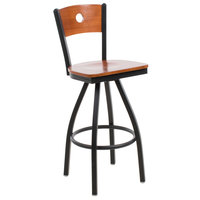 BFM Seating 2152SCHW-CHSB Darby Sand Black Metal Bar Height Chair with Cherry Wooden Back and Swivel Seat