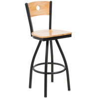 BFM Seating 2152SNTW-NTSB Darby Sand Black Metal Bar Height Chair with Natural Wooden Back and Swivel Seat