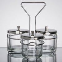 3 Compartment Wire Condiment Caddy with 7 oz. Glass Jars and Stainless Steel Lids