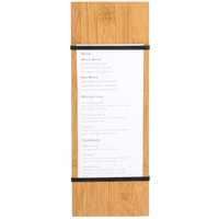 American Metalcraft BBR12 12 1/2 inch x 4 1/2 inch Bamboo Wood Menu Holder with Straps