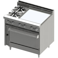 Blodgett BR-2-24GT-36C 2 Burner 36 inch Thermostatic Gas Range with Right Side 24 inch Griddle and Convection Oven Base - 138,000 BTU