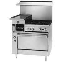Blodgett BRB-12G-4-36C 4 Burner 36 inch Manual Gas Range with Left 12 inch Raised Griddle / Broiler and Convection Oven Base - 190,000 BTU