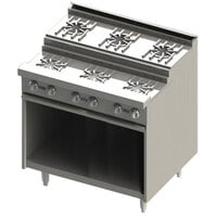 Blodgett BRE-4-3 7 Burner 36 inch Step-Up Gas Range with Cabinet Base - 120,000 BTU