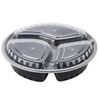 Choice 33 oz. Black 9 inch Round 3-Compartment Microwavable Heavyweight Container with Lid   - 25/Pack