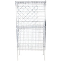 18 inch x 36 inch Chromate Finish Wire Wine Rack Kit with 74 inch Chrome Stationary Posts, 4 Shelves, and Security Cage - 82 Bottle Capacity