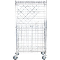 18 inch x 36 inch Chromate Finish Mobile Wire Wine Rack Kit with 64 inch Chrome Mobile Posts, 4 Shelves, and Security Cage - 82 Bottle Capacity