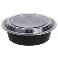 Choice 32 oz. Black 7 1/4 inch Round Microwavable Container with Lid - 10/Pack