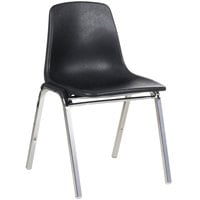 National Public Seating 8110 Chrome Metal Stacking Chair with Black Poly Shell Back and Seat