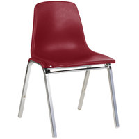 National Public Seating 8118 Chrome Metal Stacking Chair with Burgundy Poly Shell Back and Seat