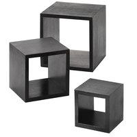 American Metalcraft RSB1 Black 3 Piece Square Wood Riser