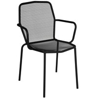 BFM Seating DV354BL Avalon Black Stackable Steel Outdoor / Indoor Arm Chair