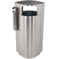 Commercial Zone 78232999 Leafview 40 Gallon Stainless Steel Trash Receptacle with Cigarette Receptacle