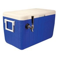 Micro Matic HDCP-D1-48B Blue 1 Faucet 48 Qt. Insulated Jockey Box with 10 inch x 15 inch Cold Plate
