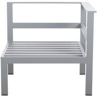 BFM Seating PH6101SG-L Belmar Soft Gray Aluminum Outdoor / Indoor Cushion Armchair with Left Armrest