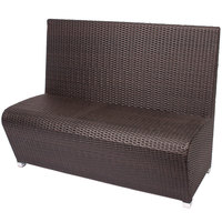 BFM Seating PH7100JV Cancun Java Aluminum Booth Bench with Synthetic Weave Back and Seat