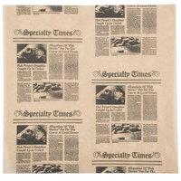 American Metalcraft PPCN1212 12 inch x 12 inch Natural Newspaper Print Deli Sandwich Wrap Paper   - 1000/Case