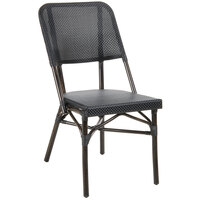 BFM Seating MS402BBLWB Mai Tai Walnut Stackable Aluminum Outdoor / Indoor Side Chair with Black Textilene Back and Seat