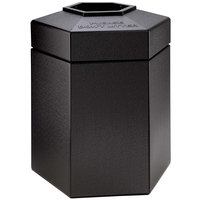 Commercial Zone 737201 PolyTec 45 Gallon Black Hexagonal Waste Container with Open Top