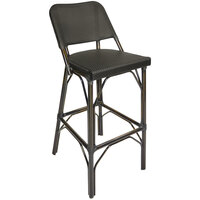 BFM Seating MS402CBLWB Mai Tai Walnut Aluminum Outdoor / Indoor Bar Height Chair with Black Textilene Back and Seat