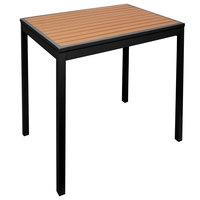 BFM Seating PH3636TKBLU4L Longport 36 inch Square Black Aluminum Outdoor / Indoor Standard Height Table - Synthetic Teak
